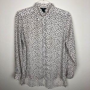 H&M Button Front Patterned Blouse Size 6